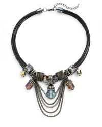 Saks Fifth Avenue - Black Chain Detailed Statement Necklace - Lyst