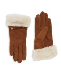 Ugg Brown Shearling-accented Gloves