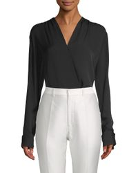 Elie Tahari Black Shelly V-neck Bodysuit