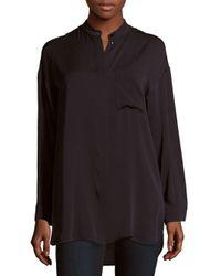 Max Mara Black Tilde Solid Silk Shirt