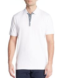Michael Kors - White Chambray-trimmed Cotton Polo for Men - Lyst