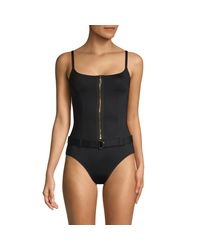 La Blanca Black 1-piece Belted Swimsuit