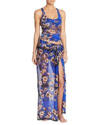 Jean Paul Gaultier Blue Two-piece Vintage Floral Tulle Overlay Tankini