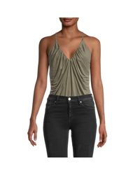 Young Fabulous & Broke Black Gathered V-neck Bodysuit