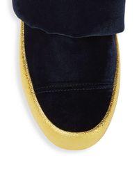Giuseppe Zanotti Blue Logo Puffy Velvet Sneakers