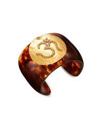 Artisan Multicolor 18k Yellow Gold, Diamond & Tortoiseshell-effect Bakelite Om Bangle
