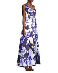 Aidan Mattox Blue Floral-printed Sleeveless Long Dress