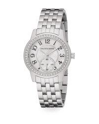 Saks Fifth Avenue Metallic Mother-of-pearl, Pav? Crystal & Stainless Steel Watch