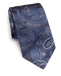Ike Behar Blue Medallion Paisley Silk Tie for men