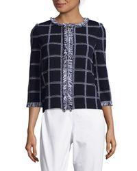 St. John - Blue Plaid Knitted Jacket - Lyst