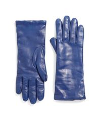 Saks Fifth Avenue Blue Cashmere-lined Leather Gloves