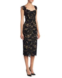 Lela Rose Black Floral Lace Dress