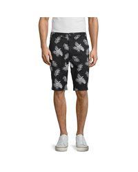 Buffalo David Bitton Black Hector Palm-print Shorts for men