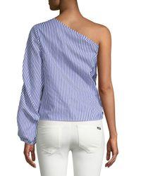 Cliche Blue One-shoulder Stripe Top