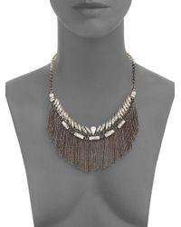 Deepa Gurnani - Metallic Austrian Crystal Fringe Bib Necklace/gunmetal-tone - Lyst