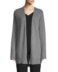 360cashmere Gray Printed Open-front Cashmere Cardigan