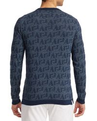 Saks Fifth Avenue Blue Collection Geometric Stripe Crewneck Sweater for men