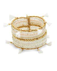 Panacea - White Beaded Cuff Bracelet - Lyst