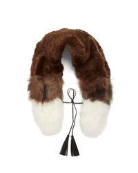 Steve Madden - Brown Faux Fur Scarf - Lyst