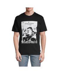 The Kooples Sport Black Tks Champions Photo Print Jersey T-shirt for men