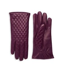 Portolano Purple Quilted Leather Gloves