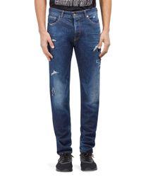 Marcelo Burlon Blue Bajo Skinny Fit Jeans for men
