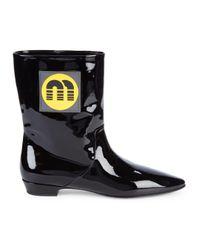 Miu Miu Black Patent Leather Flat Boots