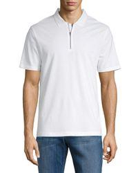Vince White Zip Polo Shirt for men