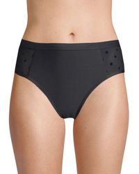 Ella Moss Black Sheer Dotted High-waist Bikini Bottom