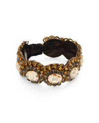 Deepa Gurnani | Metallic Royal Austrian Crystal & Leather Bangle Bracelet | Lyst