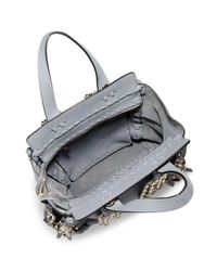 Valentino Gray Tassel Leather Top Handle Tote Bag