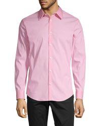 Calvin Klein Pink Slim-fit Stretch Cotton Button-down Shirt for men