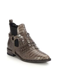 Frēda Salvador Brown Fringed Snake-embossed Leather Ankle Boots
