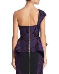 Roland Mouret - Purple Rodmell Fil Coupe Floral Brocade One-shoulder Top - Lyst