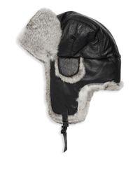 Surell - Black Trooper Rabbit Fur Leather Earflap Hat - Lyst