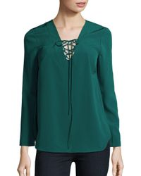 Amanda Uprichard Green Solid Lace-up Neck Top