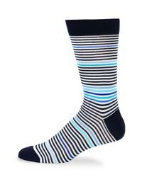 Bugatchi - Blue Striped Crew Socks for Men - Lyst