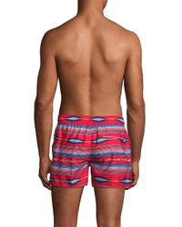 2xist Red Fiesta Striped Ibiza Swim Shorts for men