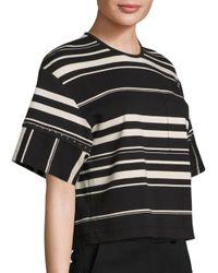 3.1 Phillip Lim Black Striped Ponte Tee