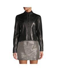 Valentino Black Rockstud Leather Moto Jacket