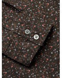 John Varvatos Brown Floral Print Sport Shirt for men