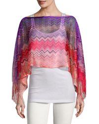 Missoni Pink Crochet Fringe Stripe Poncho
