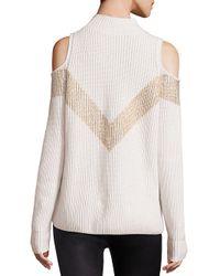 Zoe Jordan White Hawking Wool & Cashmere Chevron Cold-shoulder Sweater