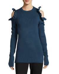 Saks Fifth Avenue - Blue Ruffled Cold Shoulder Sweater - Lyst