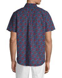Ben Sherman Blue Parks Floral Button-down Shirt for men