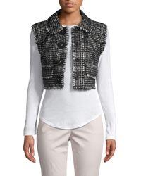 Dolce & Gabbana Black Textured Cropped Wool Blend Vest