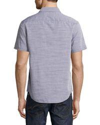 Original Penguin - Blue Slub Horizontal Stripes Cotton Button-down Shirt for Men - Lyst