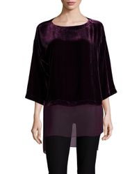 Eileen Fisher - Black Velvet Hi-lo Top - Lyst