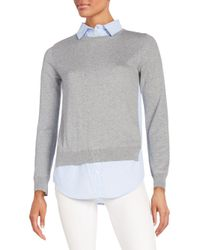 French Connection - Gray Illusion Shirt Top - Lyst