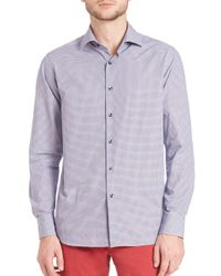 Saks Fifth Avenue - Blue Abstract Plaid Button-up for Men - Lyst